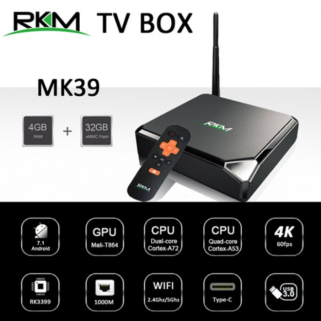 RKM MK39 TV Box with SoC Hexa Core RK3399 and Android 7 1 - PowerhousePC